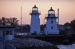 Two lighthouses in Green Bay Stock Photography