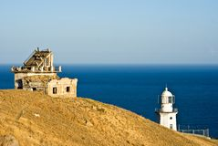 Two lighthouses on a marine cape Royalty Free Stock Photos