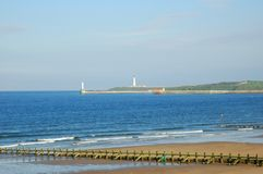 Two lighthouses in the North Sea. Aberdeen, Scotland royalty free stock photo