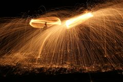 Two lights flighting with neutron probes. Two metal heat burning moving with high spped in circlw Stock Photography