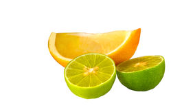 Two limes and a lemon Stock Photography