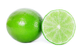 Two limes sliced isolated on white clipping path Stock Images