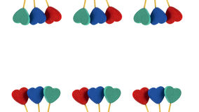 Two line of red, blue, grey hearts in white background. Two line of red, blue, grey hearts staying in white background Stock Photography