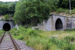 Two line train tunnel Royalty Free Stock Images