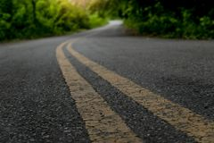 Two Line Yellow On Asphalt Road. Royalty Free Stock Image