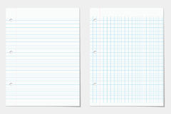 Two lined notebook sheets Royalty Free Stock Photo