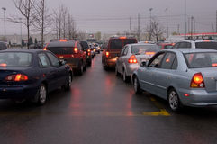 Two Lines. Hundredes of motorists line up for hours to buy half price gas in Mississauga, Canada on Friday, May 2nd, 2008 Royalty Free Stock Photo