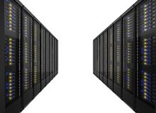Two lines of server racks Royalty Free Stock Images