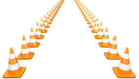 Two lines of traffic cones. On white background Royalty Free Stock Photography