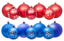 Two lines of xmas blue and red balls isolated Royalty Free Stock Image