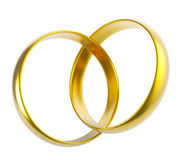 Two linked golden wedding rings Royalty Free Stock Photography
