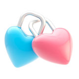 Two linked heart shaped locks isolated Stock Image