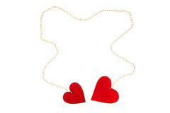 Two linked hearts Royalty Free Stock Images