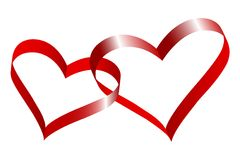 Two linked hearts. Two linked hearts of red ribbon Royalty Free Stock Image