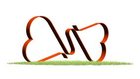 Two Linked Hearts in grass. Two Linked Hearts - isolated on white background Vector Illustration