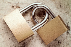 Two linked padlocks Stock Images