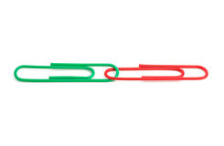 Two linked paperclips Royalty Free Stock Photos