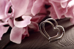 Two linked silver hearts on a plank Royalty Free Stock Photography