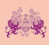 Two lion. Pink flower on the floor of two lions and they carry arms graphic Royalty Free Stock Images