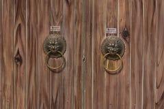 Two lion door knocker. Lion door knocker found on old door Stock Photos