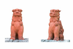 Two Lion Statue, Isolated on white background. Two Lion japan Statue, Isolated on white background stock photos