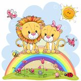 Two Lions Are Sitting On The Rainbow Royalty Free Stock Image