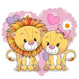 Two Lions on a background of heart. Two cute Lions on a background of heart Stock Photos