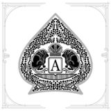 Two lions with crown in center of floral pattern inside ace of spades form. Marine design playing card. Element black on white royalty free illustration