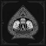 Two lions with crown in center of floral pattern inside ace of spades form. Vintage design playing card. Element white on blackboard royalty free illustration