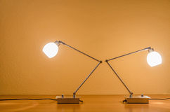 Two lit table lamps Royalty Free Stock Photography