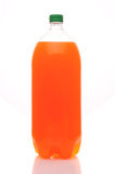 Two liter bottle of orange soda. A two Liter bottle of Orange Soda on a white background with reflection stock photo