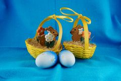 Two litlebunny baskets. Two litle bunny baskett with eggs Stock Photos