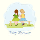 Two littie girls. On the wooden bench royalty free illustration