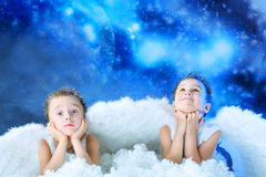 Two little angels royalty free stock photo