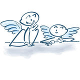Two little angels as a stick figures. Having ideas vector illustration