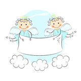 Two little angels. Editable vector illustration Stock Photography