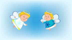 Two Little angels flying on background Stock Photos
