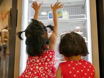 Little Asian baby girls, sisters, looking and touching the bakery fridge as they were irresistibly hungry for beautiful cakes. Two little Asian baby girls royalty free stock photography