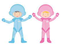 Two little astronauts Royalty Free Stock Photography