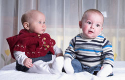 Two little babies royalty free stock photo