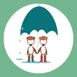 Two little bears with umbrella. Royalty Free Stock Photo