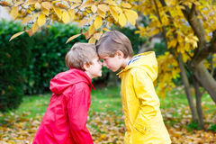Two little best friends and kids boys autumn park in colorful clothes. Happy siblings children having fun in red and yellow rain coat and rubber boots. Family Stock Photos