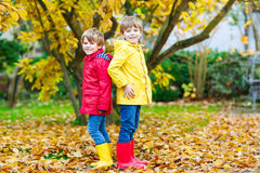 Two little best friends and kids boys autumn park in colorful clothes. Happy siblings children having fun in red and yellow rain coat and rubber boots. Family Stock Image