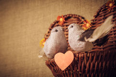 Two little bird the lovers, heart Royalty Free Stock Images