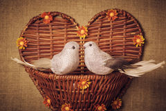 Two little bird the lovers, heart Royalty Free Stock Photos