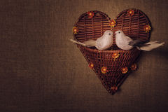 Two little bird the lovers, heart Royalty Free Stock Image