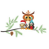 Two little birds and a large owl sitting on a branch. The branch Royalty Free Stock Photos