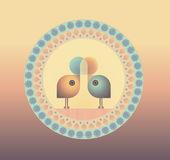 Two little birds in love. Illustration of two birds in love, on a decorative background Royalty Free Stock Images