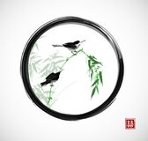 Two Little Birds Sitting On Bamboo Branch In Black Enso Zen Circle. Traditional Oriental Ink Painting Sumi-e, U-sin, Go Stock Images