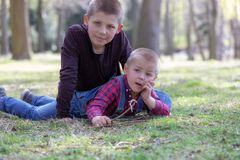 Two little blond brothers laying in grass in the spring.  stock photo